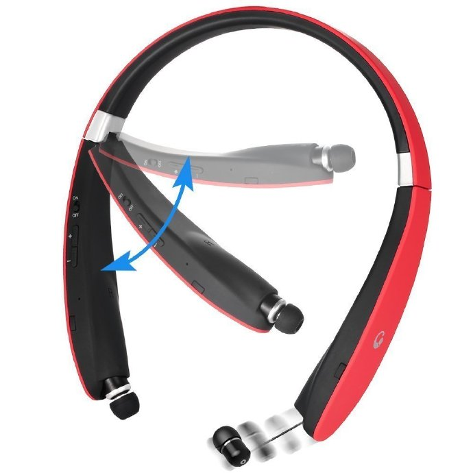 Bluetooth Headset,  V4.1 Bluetooth Headphones Wireless Stereo Foldable Neckband Earphones with Retractable Earbuds for iPhone Samsung HTC Smartphones, Red