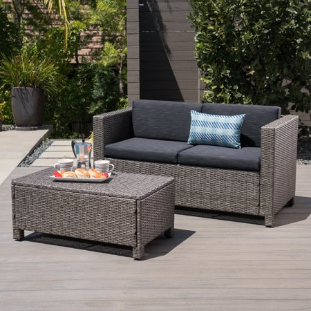 Cony Outdoor Wicker Loveseat And Coffee Table Set Mixed