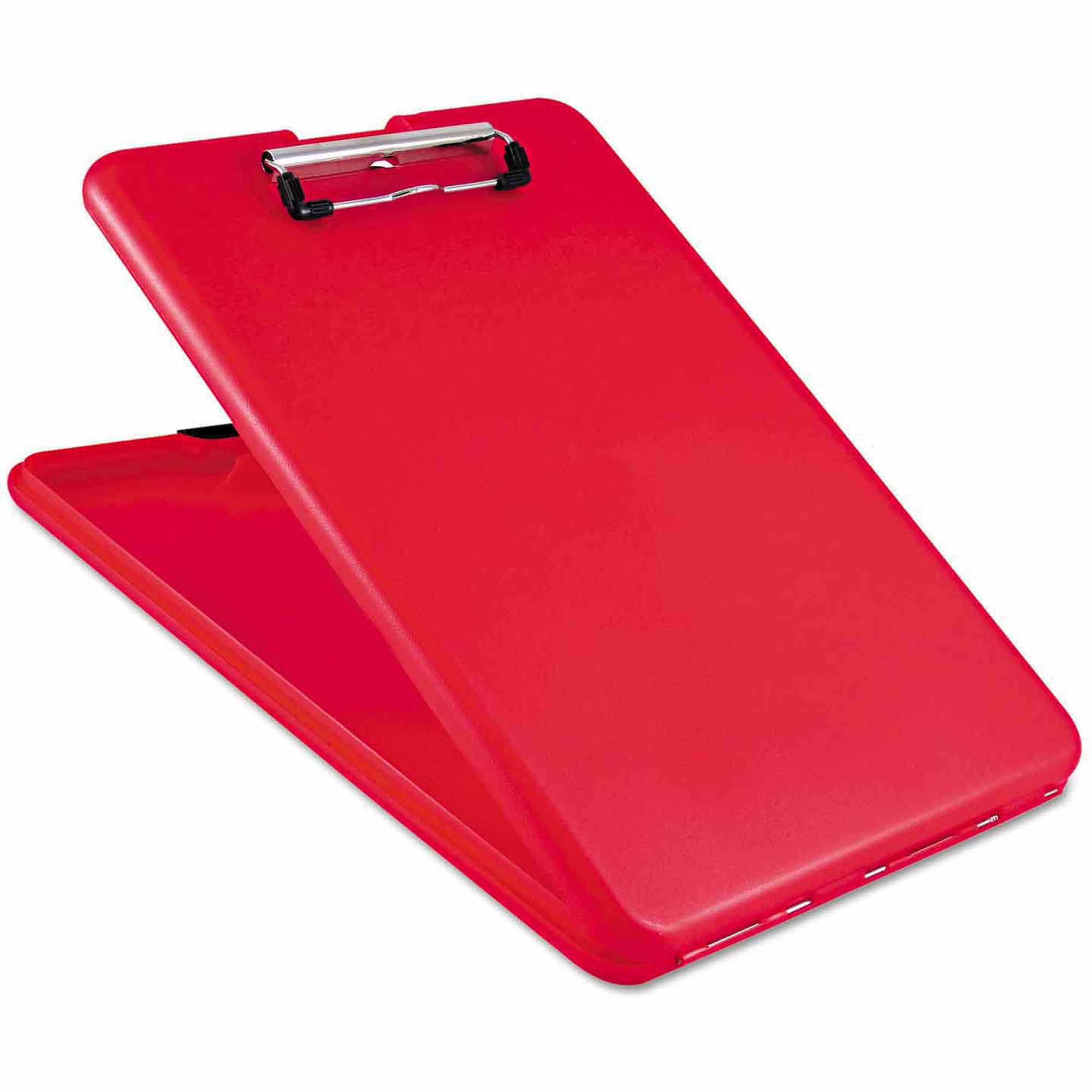 "Saunders SlimMate Storage Clipboard, 1/2"" Capacity, Holds 8 1/2w x 12h, Red"
