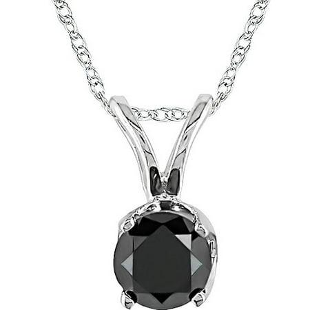 Floating Round Diamond Pendant (1/2 Carat T.W. Black Round Diamond 10kt White Gold Women's Pendant Necklace, 17)