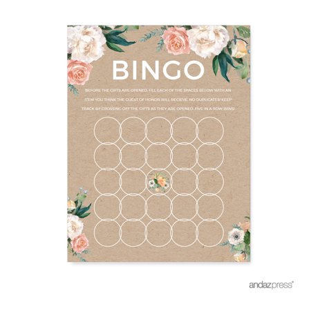 Peach Rustic Floral Garden Party, Baby Bingo Game Cards, 20-Pack, Games