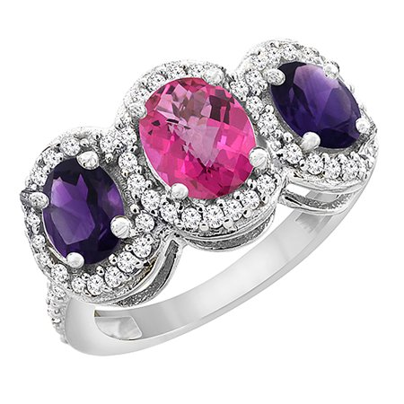 14K White Gold Natural Pink Sapphire & Amethyst 3-Stone Ring Oval Diamond Accent, size 5.5 Amethyst Pink Sapphire Ring