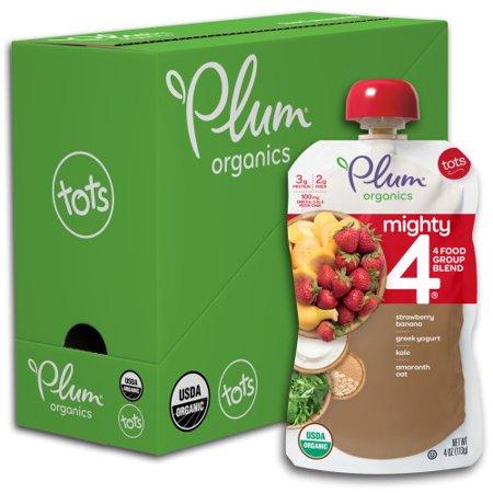 Plum Organics Baby Food Mighty 4 Strawberry Banana Kale Greek Yogurt Oat Amaranth - 6 CT