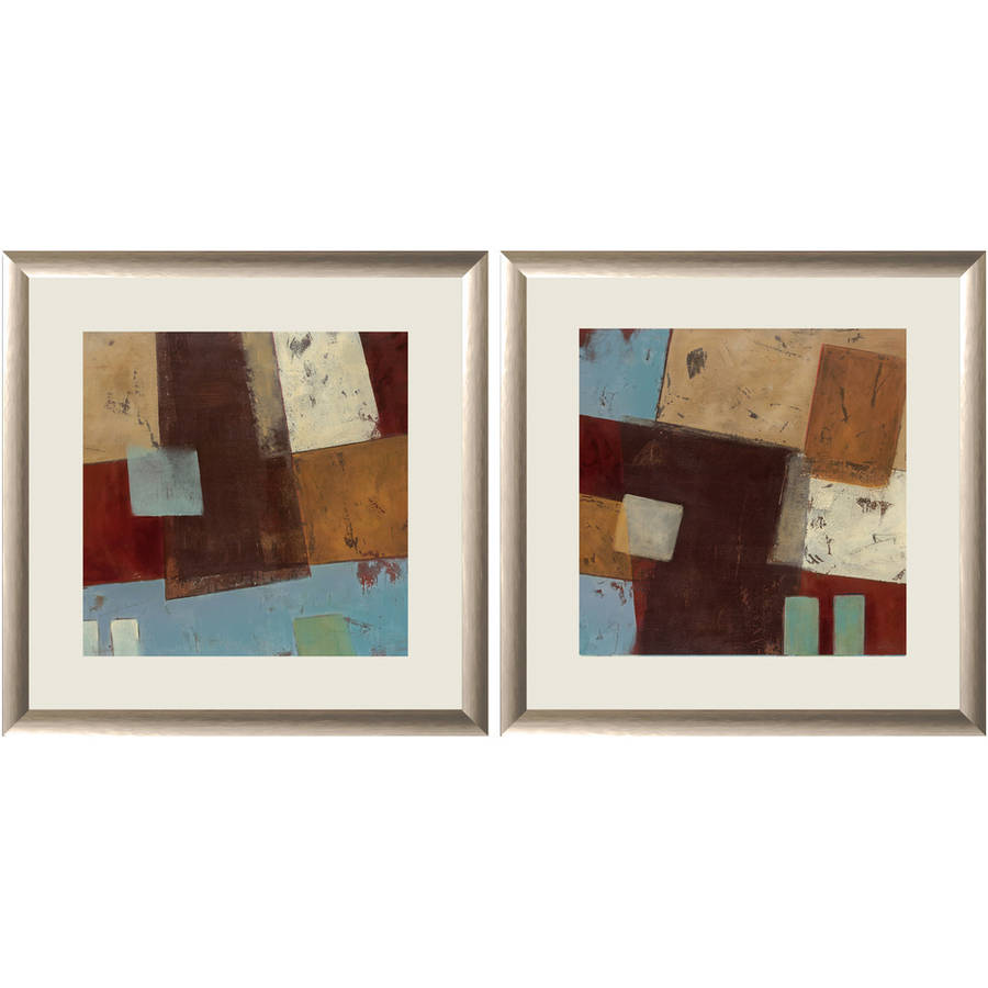 """Brown Abstract Collage II Wall Art, 18"""" x 18"""", Set of 2"""