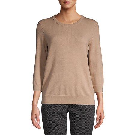 Petite Three Quarter Sleeve Knit Sweater (Dkny Jeans Womens Sweater)