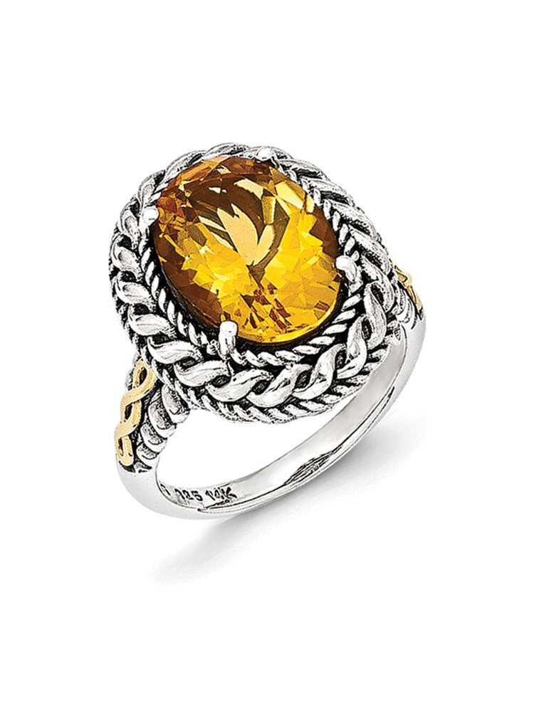 14K Gold and 925 Sterling Silver with Antiqued Citrine Ring Size-6 by