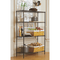 "HSS 14""Dx36""Wx54""H, 4 Tier Wire Shelving Rack, Black"