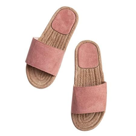 Women Slip On Sandals Slippers Cork Heel Summer Beach Casual Sliders Shoes