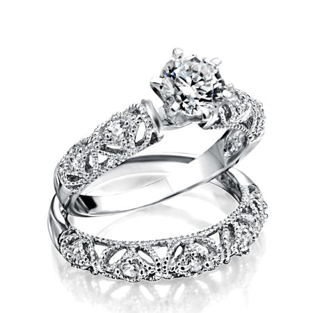 Vintage Style 1CT Round Solitaire Milgrain AAA CZ Engagement Wedding Band Ring Set For Women 925 Sterling Silver