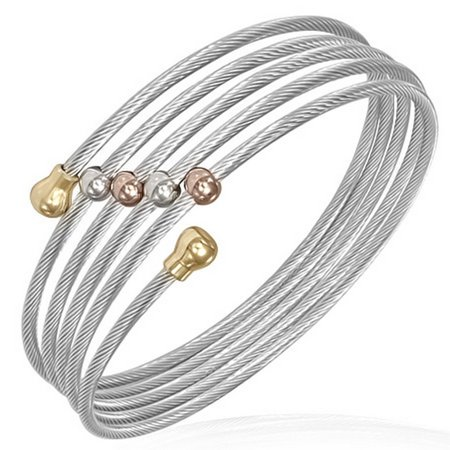 Stainless Steel Silver-Tone Spiral Multi Bangle Womens Cuff Bracelet