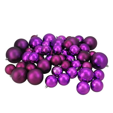 50ct Magenta Pink Shatterproof Shiny and Matte Christmas Ball Ornaments 2.4