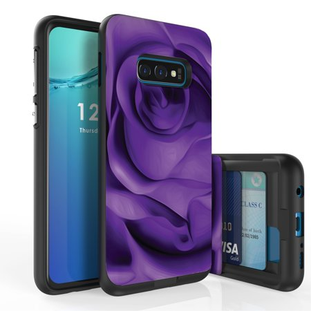 Duo Shield Case - Galaxy S10e Case, Duo Shield Slim Wallet Case + Dual Layer Card Holder For Samsung Galaxy S10e [NOT S10 OR S10+] (Released 2019) Purple Rose