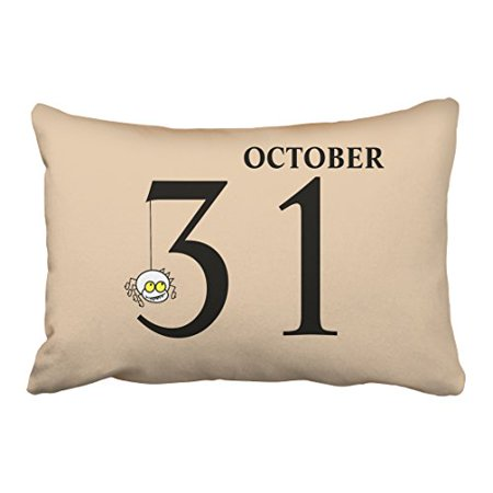 WinHome Fun Cartoon Spider Happy Halloween October 31st Fashion Polyester 20 x 30 Inch Rectangle Throw Pillow Covers With Hidden Zipper Home Sofa Cushion Decorative Pillowcases