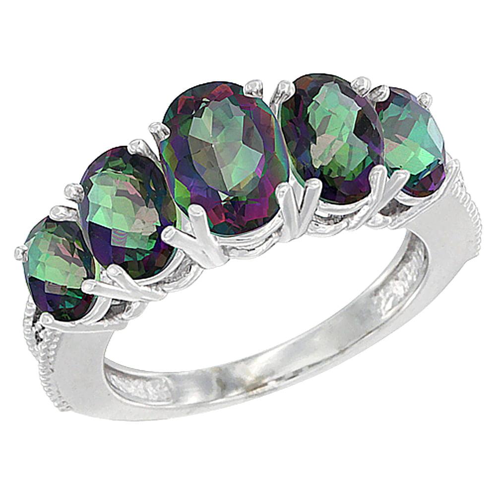 Worldjewels 10k White Gold Natural Mystic Topaz Ring 5 Stone Oval Diamond Accent Sizes 10