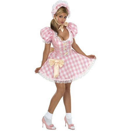 Womens Adult Little Bo Peep Pink And White Gingham Dress - Bo Peep Toy Story Costume Adults