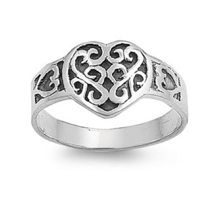 925 Sterling Silver Wiccan Love Magic Filigree Ring Size 10