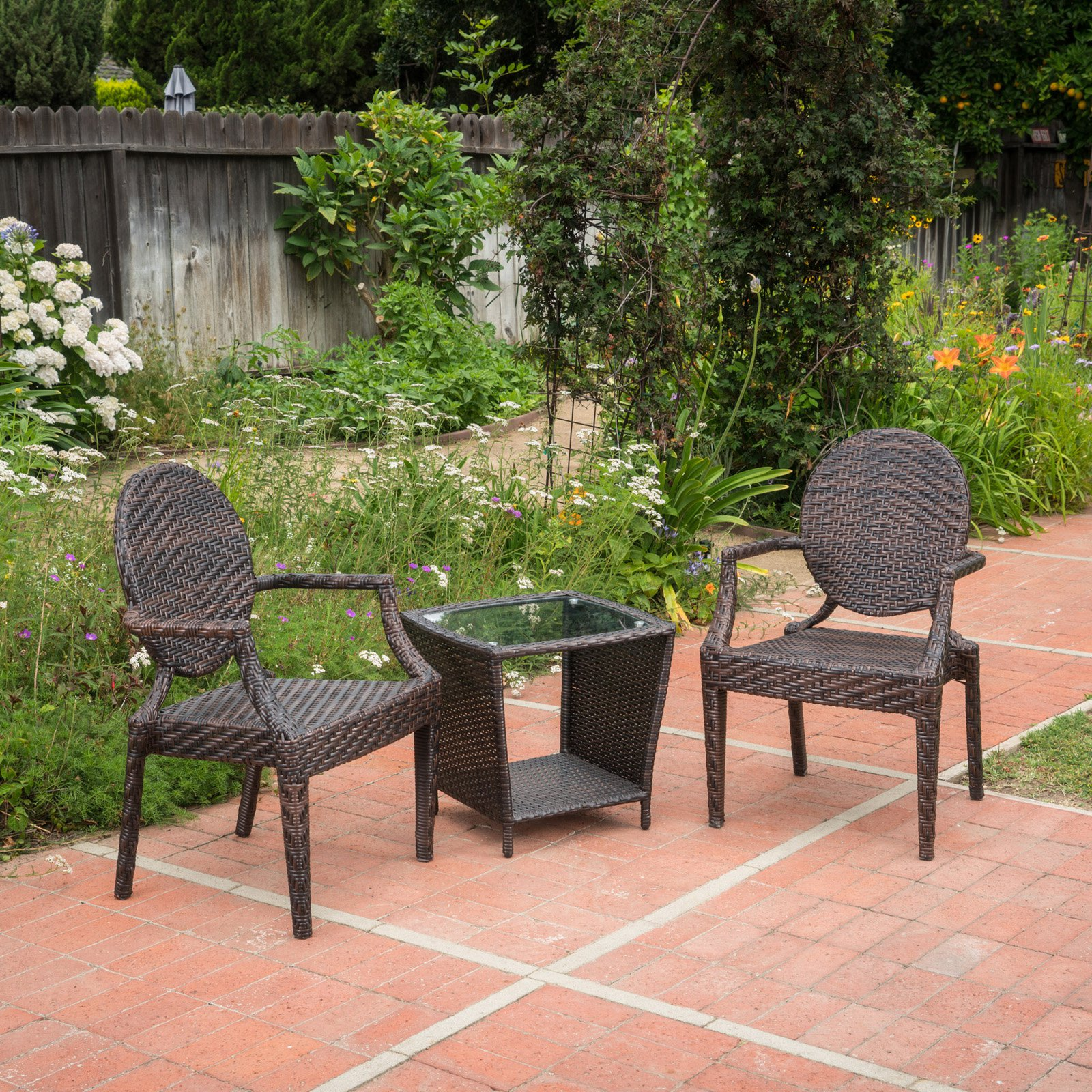 Pasadena Wicker 3 Piece Outdoor Stacking Chair Chat Set