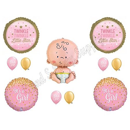 Baby Girl Balloons (TWINKLE LITTLE STAR BABY GIRL Shower Balloons Decoration Supplies Nursery)