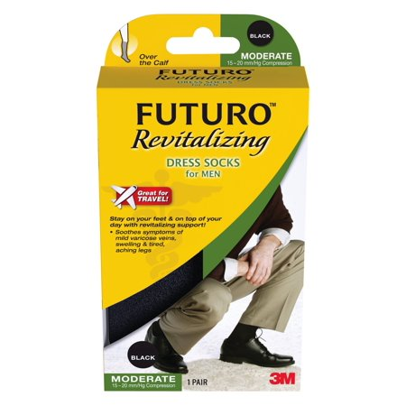Futuro Revitalizing Dress Socks for Men, Black, Large