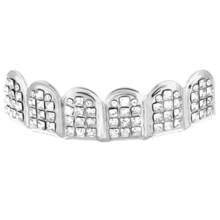 Upper Mouth Grillz Top Teeth Caps Grills Lab Created Cubic Zirconias 14K White Gold Finish