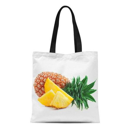 ASHLEIGH Canvas Tote Bag Green Ananas Pineapple Slices White Yellow Fresh Fruit Good Reusable Shoulder Grocery Shopping Bags Handbag Green Bag Fruit