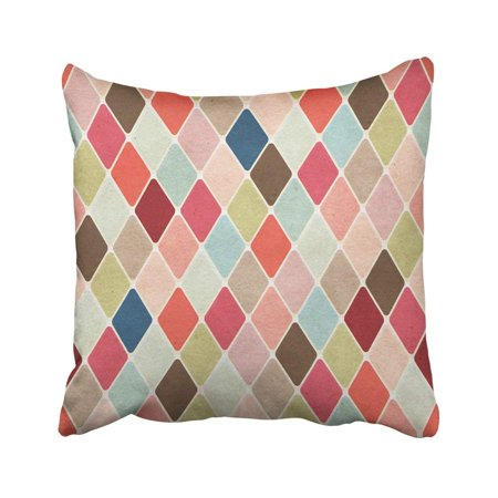- BPBOP Beige Circus Retro Harlequin Colorful Vintage Argyle Diamond Abstract Cotton Coffee Color Pillowcase Throw Pillow Cover Case 18x18 inches