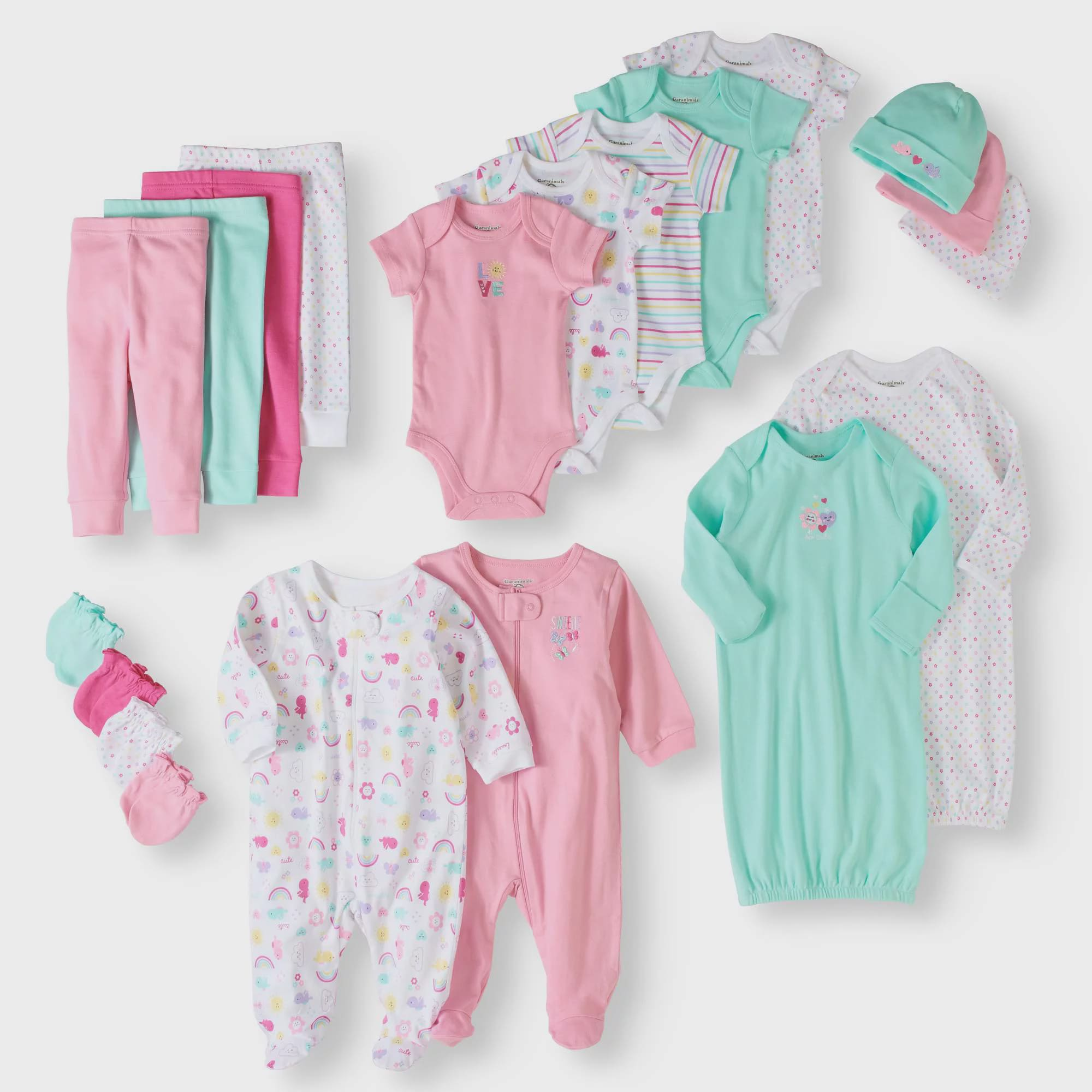 Click here to buy Garanimals Newborn Baby Girl 20 Piece Layette Baby Shower Gift Set.