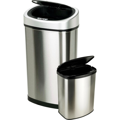 Nine Stars 13.2 Gallon Slim / 2.1 Gallon Trash Can Combo Set, Stainless Steel