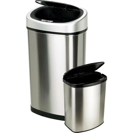 Nine Stars 13 2 Gallon Slim   2 1 Gallon Trash Can Combo Set  Stainless Steel