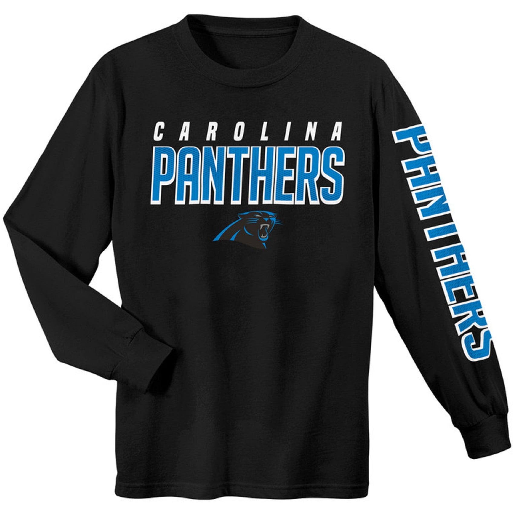 Youth Black Carolina Panthers Sleeve Hit Long Sleeve T-Shirt