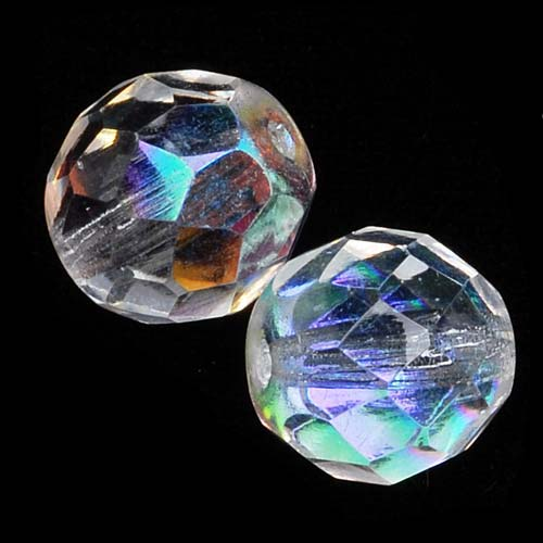 Czech Fire Polished Glass Beads 10mm Round Crystal AB (12)