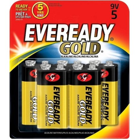 Eveready 12048-9 volt Gold Alkaline Battery (5 pack) (EVEREADY GOLD ALK 9V-5)