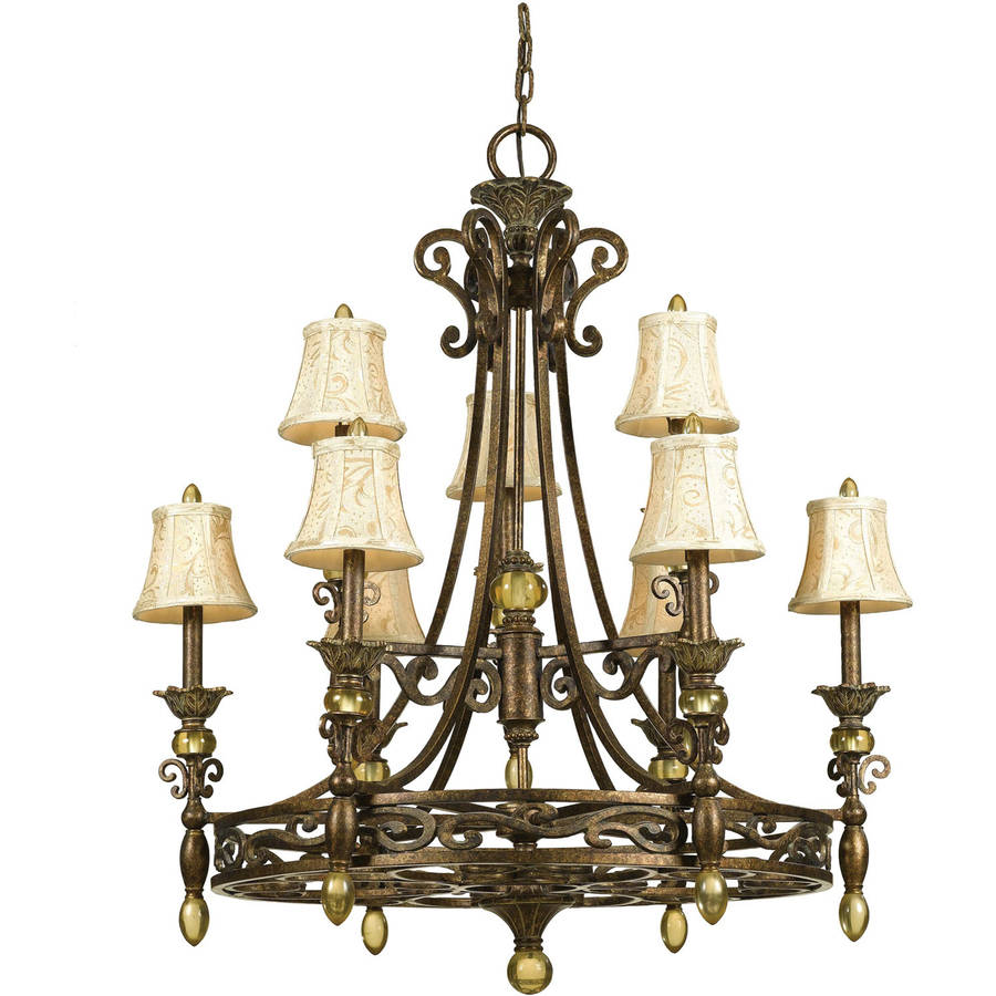 AF Lighting Baltic 9-Light Chandelier with Ivory Damask Shades, Aged Antique Gold