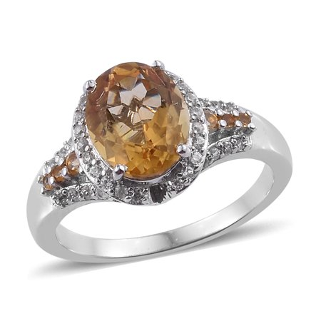 Halo Ring Sterling Silver Platinum Plated Citrine Zircon Ct 3.5