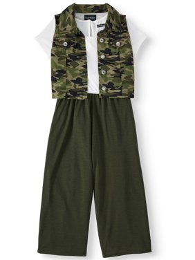 My Michelle Girls 7-16 Short Sleeve Jumpsuit with Cropped Vest (Big Girls)