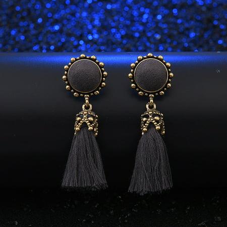 Vintage Jewelry Round Ear Stud Dangle Tassel Earrings for