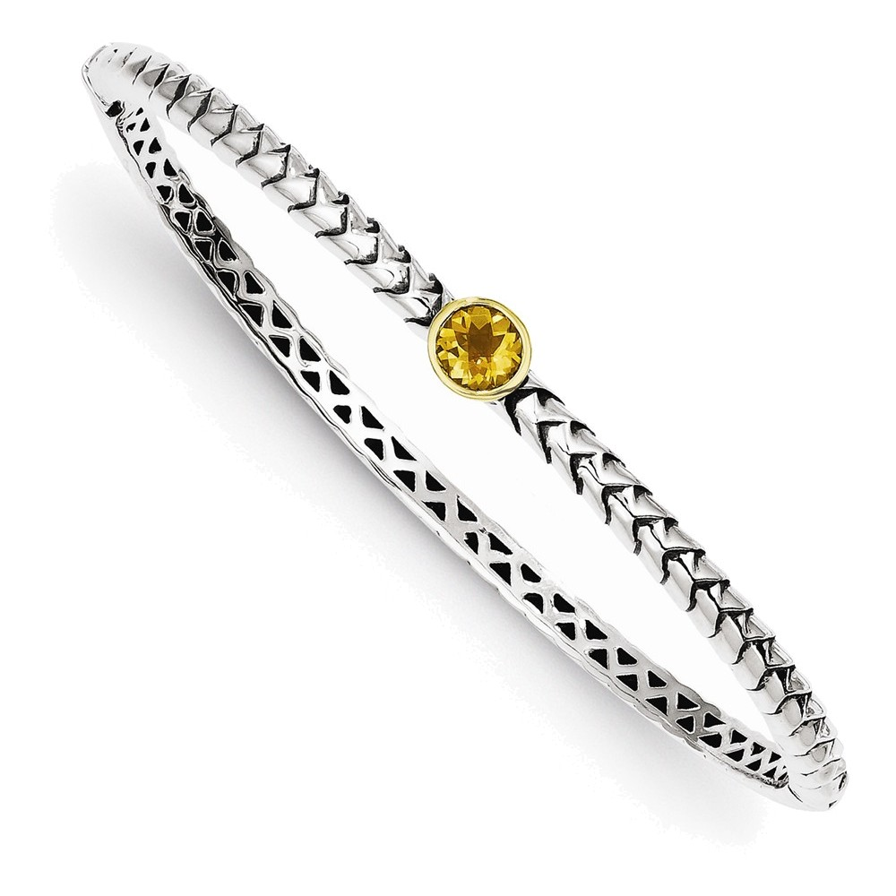 Sterling Silver w 14k 6mm Citrine Hinged Bangle Bracelet by