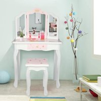 Zimtown Kids Vanity Set Makeup Play Table Dress Mirror Desk with Chair Drawer Pink