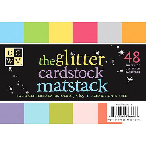 """Mat Stack 4.5""""X6.5"""" 48/Pkg-Glitter Brights & Neutrals W/White Core"""