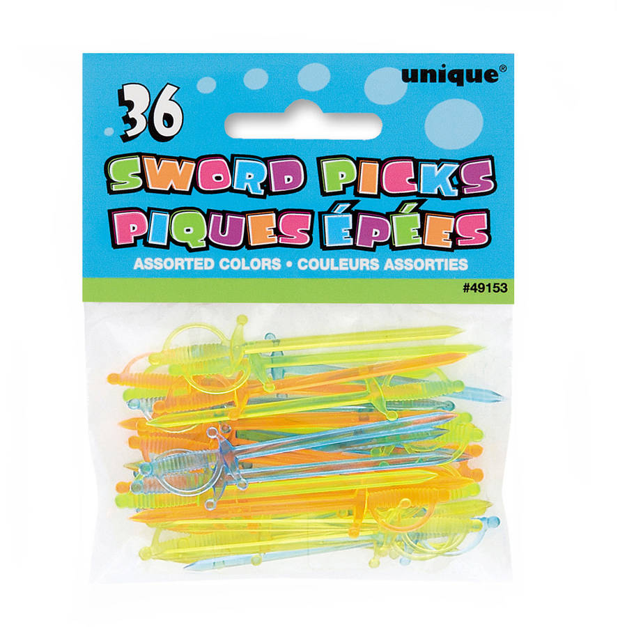 Plastic Sword Toothpicks, Assorted 36ct