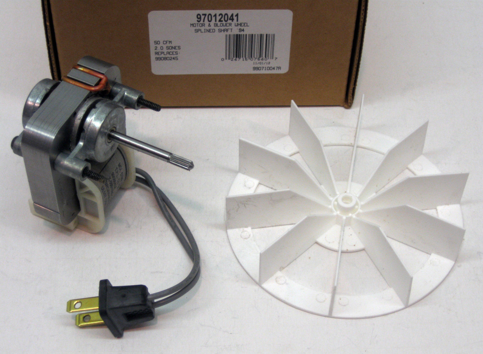 97012041 Broan Nutone Bathroom Vent Fan Motor & Wheel 50 cfm repl. 99080245  - Walmart.com