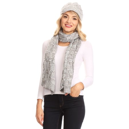 Sakkas Coline Soft Heather Chunky Cable knit Hat and Scarf Set Warm Cozy Winter - Gray - One Size -