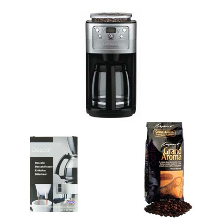Cuisinart DGB-700BC Cuisinart Brushed Chrome Fully Automatic 12 Cup Grind & Brew Coffeemaker With Burr Grinder plus Urnex Dezcal Home Activated Coffee/ Espresso Descaler & Capresso Grand Aroma Coffee