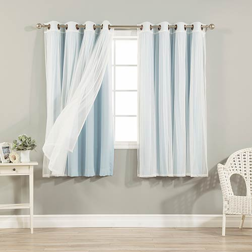 Sky Blue 52 x 63 In. Sheer Lace and Blackout Window Treatments, Set of Four