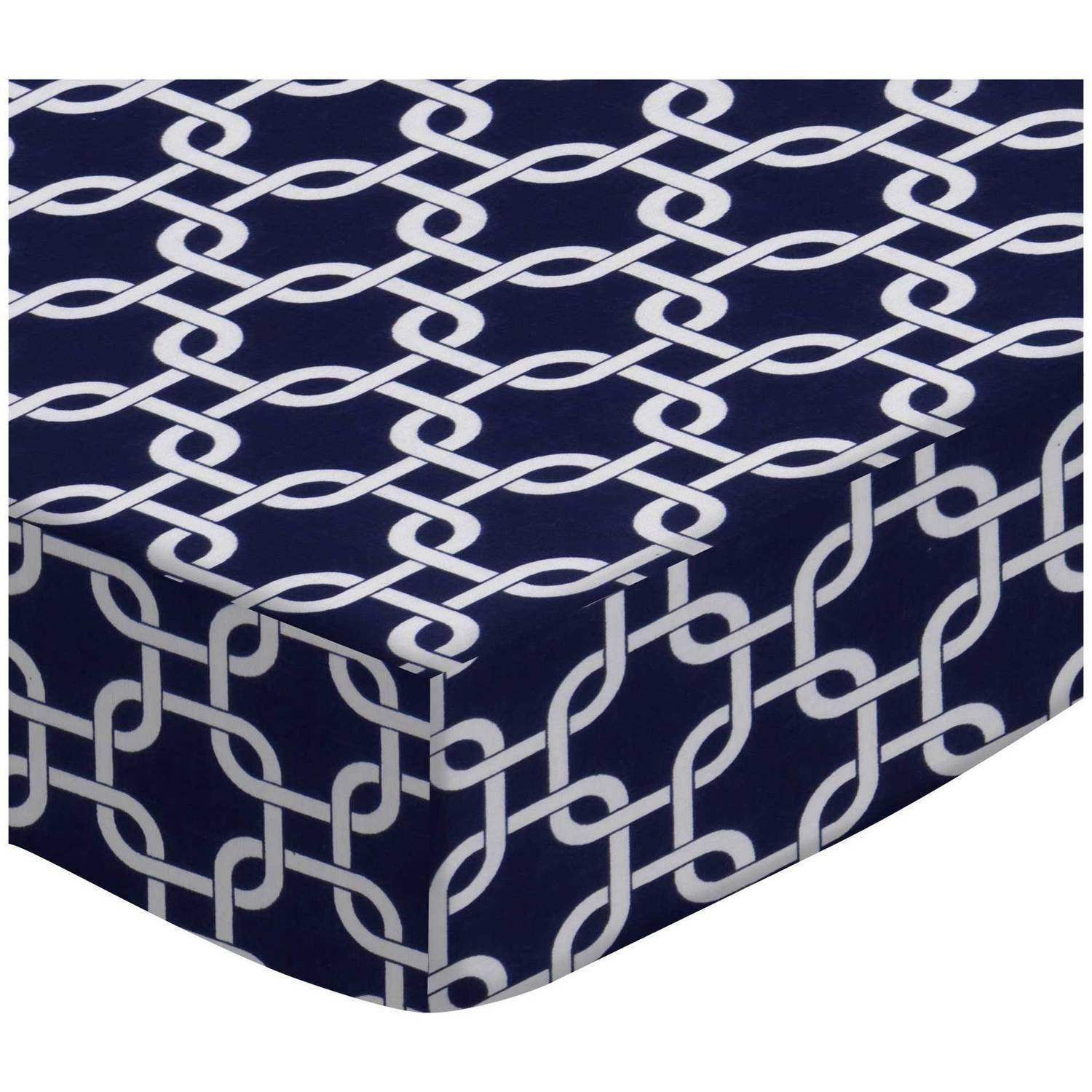SheetWorld Fitted Fitted Oval Crib Sheet (Stokke Sleepi) - Navy Links