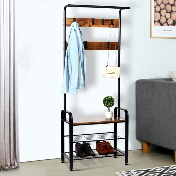 AUGIENB Entryway Coat Rack Shoe Storage Bench, 9 Hooks 3-Tier Hall Tree Storage Organizer Shelf, 3 in 1 Design Wood Look with Stable Metal Frame, Easy Assembly
