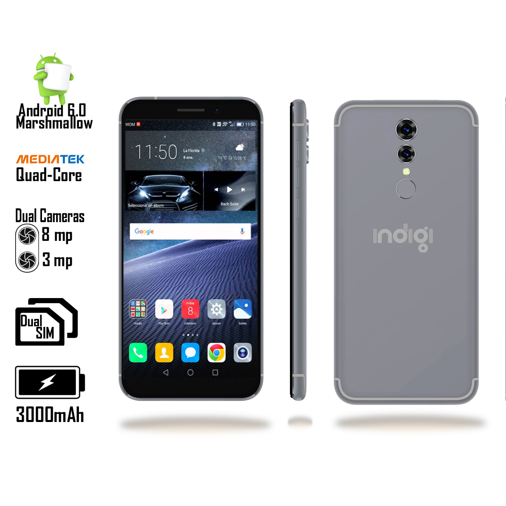 "Indigi® Unlocked Indigi Curved 5"" QuadCore 4G Android 6.0 SmartPhone + Bundle included"