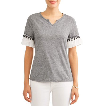 Rifle Sleeve (Women's Ruffle Short Sleeve T-Shirt with Pom Pom Detail )