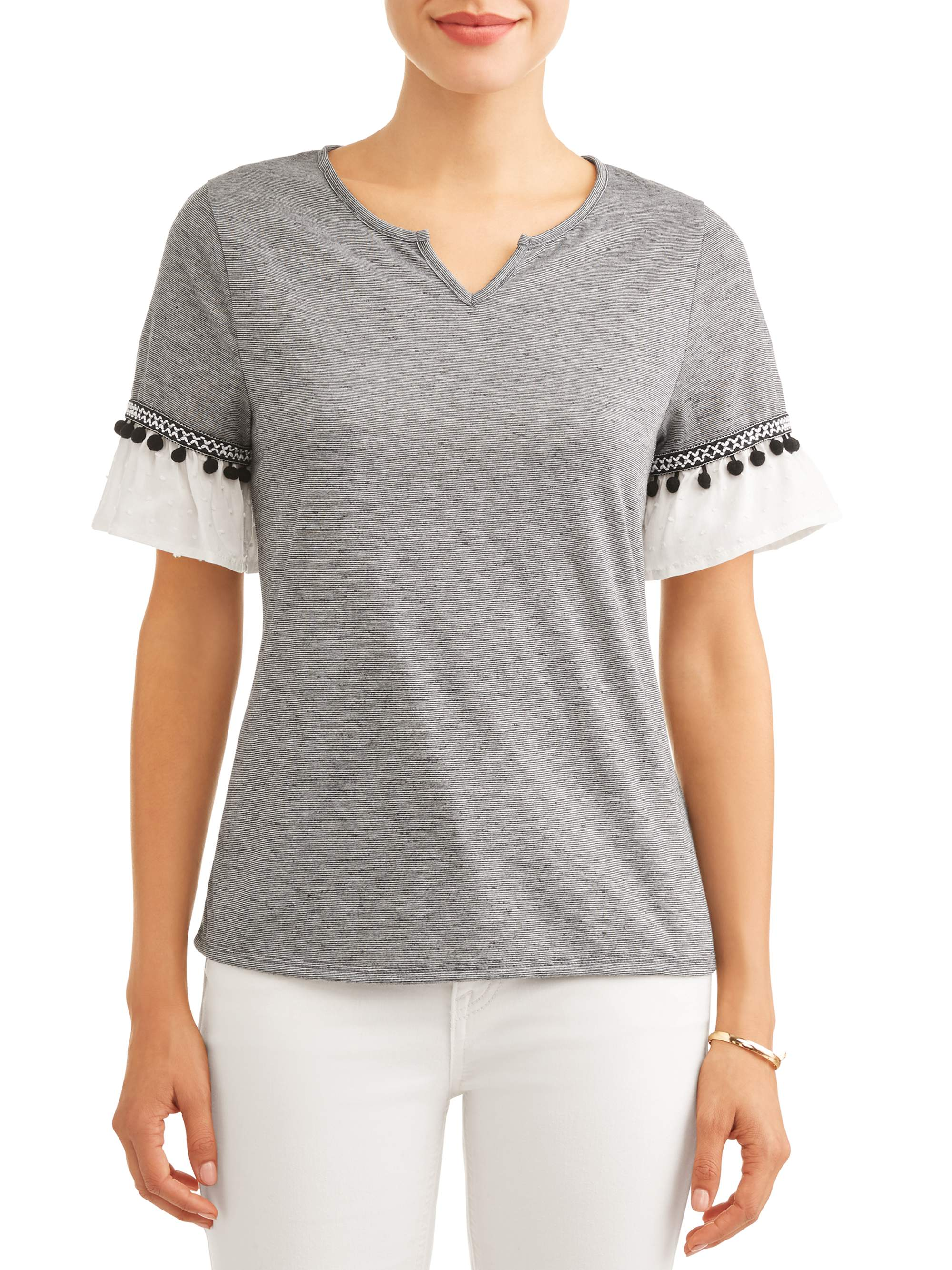 Women's Ruffle Short Sleeve T-Shirt with Pom Pom Detail