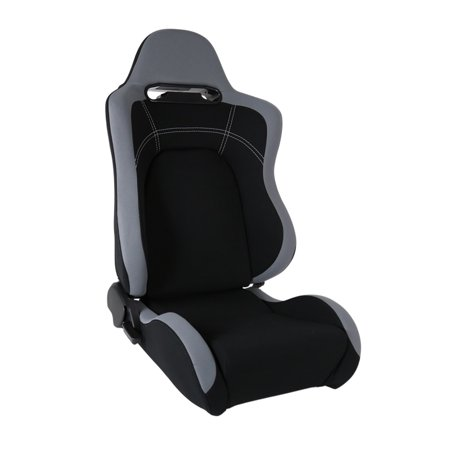 Spec-D Tuning Reclinable Cloth Black Center Gray Trim Passenger Side Racing Seat W/ Slider Black Racing Seats